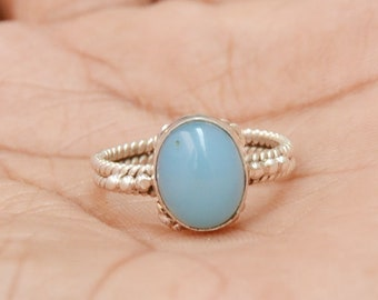 Sale Excillent BLUE CHALCEDONY Gemstone Ring, Wedding Gift, Engagement Ring, 925 Sterling Silver Ring, Chalcedony Ring, All Size Available,