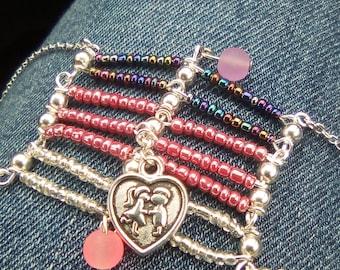 Women love multi-row bracelet pink grey and silver