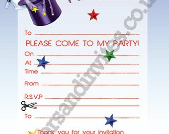 Magic Party Invite, Birthday Party Invite, Printable, DIY, invitation