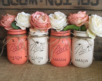 SALE!!! Set of 4 Pint Mason Jars, Ball jars, Painted Mason Jars, Flower Vases, Rustic Wedding Centerpieces, Coral And Creme Mason Jars