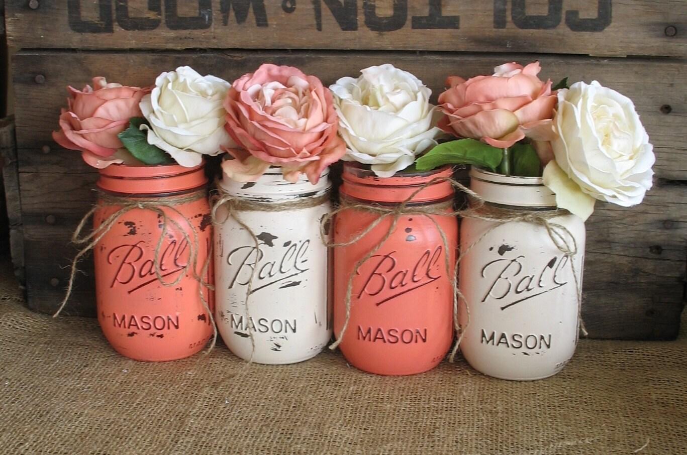 SALE Set Of 4 Pint Mason Jars Ball Painted