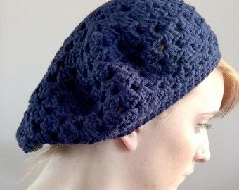 Navy Crochet Beret