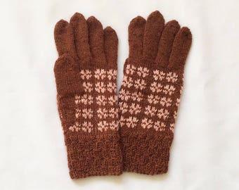 Knitted wool gloves, finger gloves, brown gloves, medium size for women