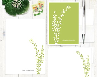 complete personalized stationery set - LEAFY STEM - personalized stationary set - note cards - notepad - choose color
