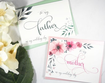 Set of 2, To My FATHER Card, To My MOTHER Card, Father of the Bride Card, Mother of the Bride Card, Father Gift, Mother Gift, Wedding Cards