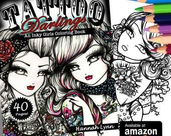 NEW Adult All Ages Tattoo Darlings Coloring Book Fantasy Mermaid Fairy Art by Hannah Lynn