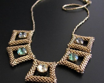 24 Karat Gold Plated Geometric Necklace with Swarovski Crystals in Green, Grey and Pale Yellow. Trapezes Beaded Necklace S241