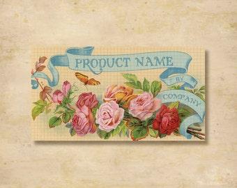 Custom Stickers - Product Labels - Vintage Labels - Authentic Vintage - Floral, Flowers - L5