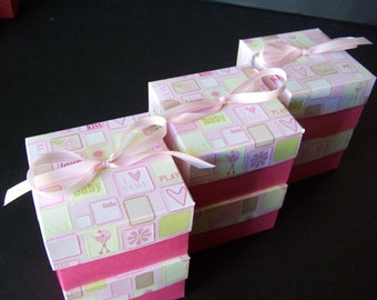 Baby Shower Favor Boxes SET of 6 - Pink Baby Shower Favor Boxes  - Baby Girl Favor Boxes - Baby Shower Treat Boxes - Pink Favor Boxes