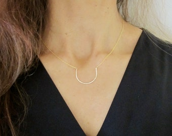 Half moon/crescent, semi circle, arch gold hammered wire delicate necklace, U shape necklace