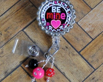 BE MINE, Valentines day Badge Retractable Reel, badge reel nurse heart, nurse badge reel, badge holder, id badge holder, medical badge reel