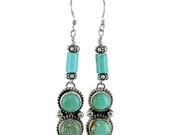 Storewide Sale : ) Kingman Turquoise Earrings 3 Stone Granulated