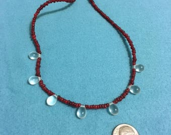 Tear drop and red necklace