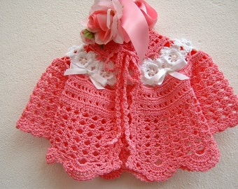 Baby sweater Crochet. Pink cotton with white Irish roses. Baby Crochet. Fashion Girl spring-summer. Romantic style