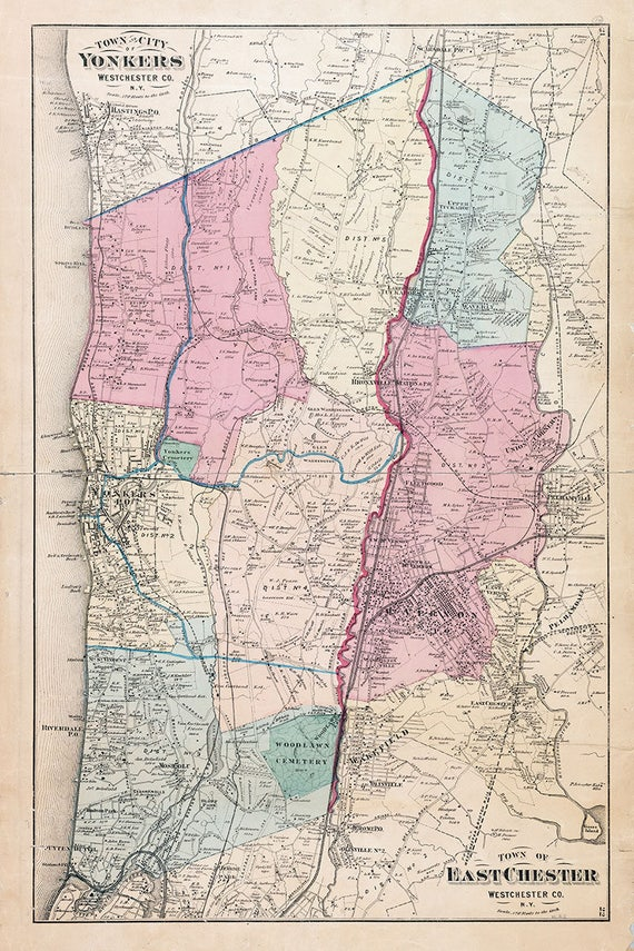 1872 Map of the Town and City of Yonkers East Chester