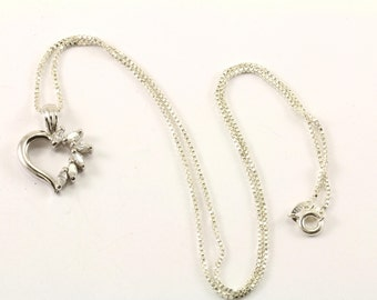 Vintage Heart Shape Crystal Pendant Necklace 925 Sterling NC 1285