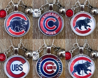 Chicago Cubs Baseball Inspired Fan Charm Necklace