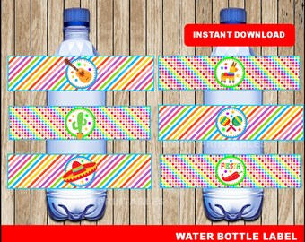 Mexican fiesta water bottle labels; printable Mexican fiesta Bottle Labels, Cinco de mayo party water bottle instant download