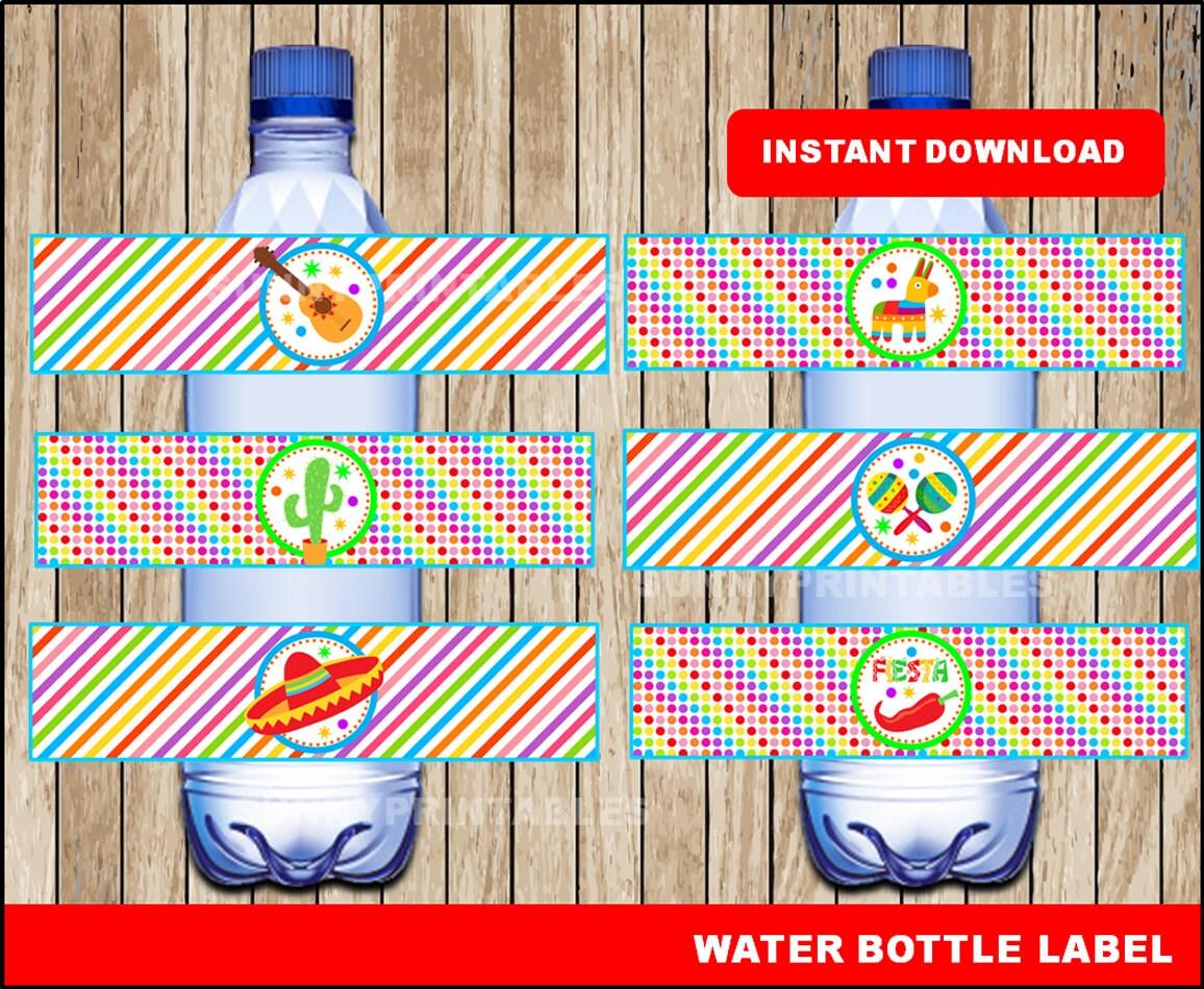 Mexican fiesta water bottle labels printable Mexican fiesta