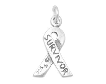 Survivor Awareness Ribbon Charm, Breast Cancer Awareness Ribbon Charm, Cure Breast Cancer, Survivor Ribbon Charm, Survivor Awareness Pendant