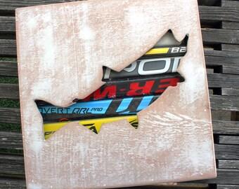 """12x12"""" Salmon Reclaimed Hockey Stick Shadow Box"""
