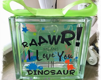 BRAND NEW Glass Block Light - Dinosaurs   Raawr means I Love You in Dinosaur