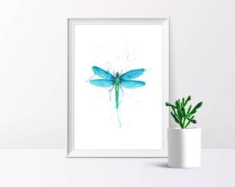 Dragonfly, Watercolour Illustration, A4/A5 Print
