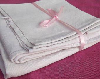 Vintage French Fabric hand Woven hemp Pink blush organic linen textile cutter
