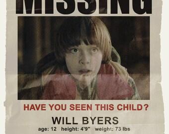 Netflix Stranger Things Will Byers Missing Poster Noah Schnapp Upside Down Eggo
