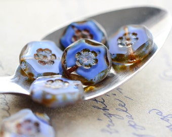 Blue Brown Czech Glass Beads / Rustic 14mm Picasso Bead / Jewelry Findings