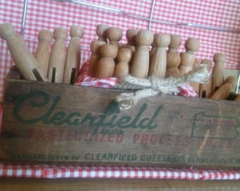 CHEESE BOX of CLOTHESPINS,Old Wood Clothespins 2 Sizes,Clearfield Cheese Co Pasteurized Process,Gift Wrapped,Laundry,Farm Decor,Crafting