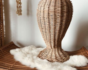 Vintage Wicker Mannequin Head Stand