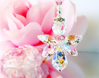 Pink Angel Car Charm Swarovski Crystal Guardian Angel Car Accessories Rear View Mirror Charm Mothers Day Gift