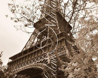 Eiffel Tower Photo Paris Beautiful Architecture High Resolution Sepia Digital Photography Wall Art Home Decor Instant Download