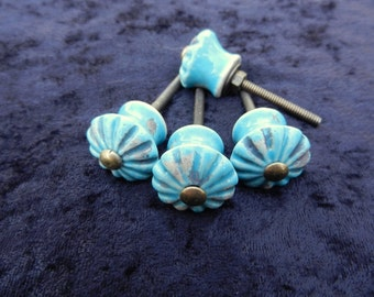 Turquoise Ceramic Knobs, Antique Drawer Pulls, Cabinet Knobs, Distressed  Knob, Primitive Knob, Cabinet Hardware, Historical Hardware