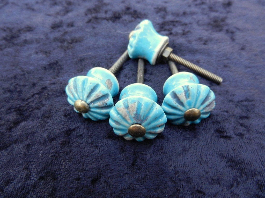 Turquoise Ceramic Knobs Antique Drawer Pulls Cabinet Knobs