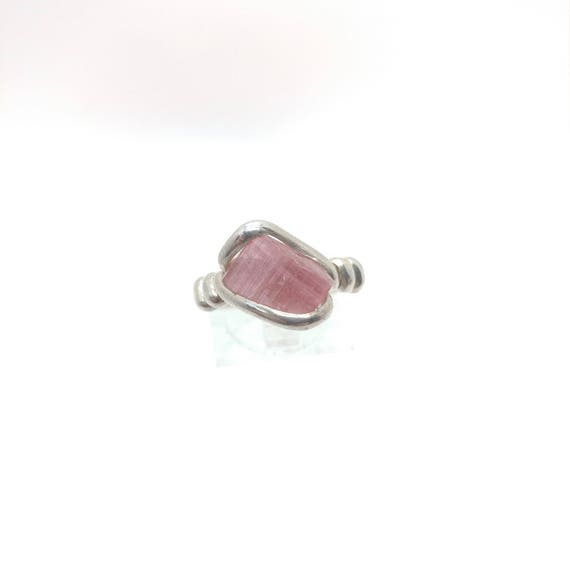 Raw Tourmaline Ring | Sterling Silver Ring Sz 9 | Rough Tourmaline Ring | Uncut Gemstone Ring | Tourmaline Jewelry | October Birthstone
