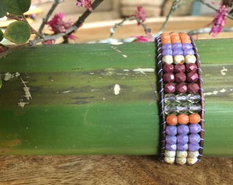 Bead Loomed Leather Bracelet