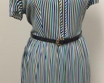 1960's Plus Size Day Dress- Secretary Dress - Day Dress -  Vertical Stripe Dress- Multi Colored Dress - Easy Wear Day Dress - Nylon 42 Bust
