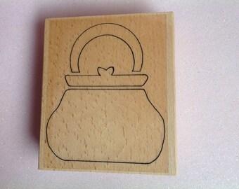 Large Handbag Wood Mounted Rubber Stamp