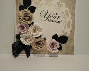 Paper roses Greetings card