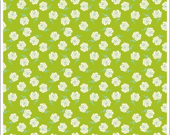 Primavera Green Buds by Patty Young for Riley Blake Designs- C5745 GREEN, green fabric, green floral fabric, green quilting cotton yardage