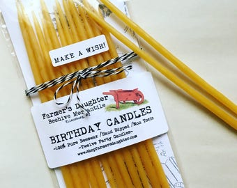 "100% BEESWAX Birthday Candles, 8"" Tall Beeswax Birthday Candles, NON-TOXIC hand-dipped  Clean and Long burning, birthday candle packs"