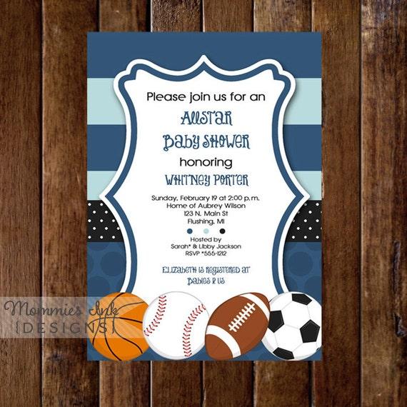 Mod Allstar Sports Theme Baby Shower Invitation All Star