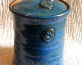 Paw stamp Pet Urn in Floating Blue glaze