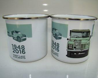 Set of 2 Land Rover, Retro Enamel Mugs, Vintage History of Land Rover, Classic Land Rover Car Cup, Land Rover Gift Idea, Christmas Gift Idea