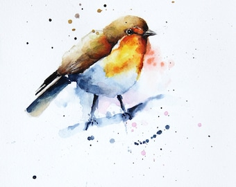 Robin Bird original watercolor painting, Original art, Bobapainting