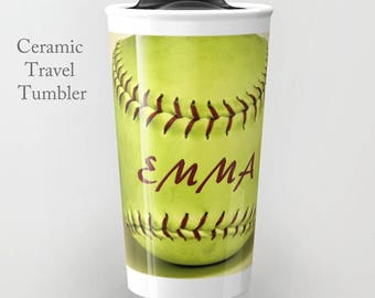 Softball Travel Tumbler-Ceramic Travel Tumbler-Coffee Tumbler-Ceramic Mug-12 oz Travel Tumbler-Softball Tumbler-Insulated Travel Tumbler