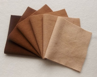 """Hand Dyed Wool Felt Gradation, PECAN, Value Gradient in Golden Brown, Tan and Buff, 6 pcs. 6"""" x 12"""" Each"""