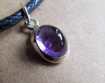 Amethyst  Black Onyx Carnelian Gemstone Pendant Dainty Choker Handmade, Simple Jewellery Gift Bag, Free UK Delivery